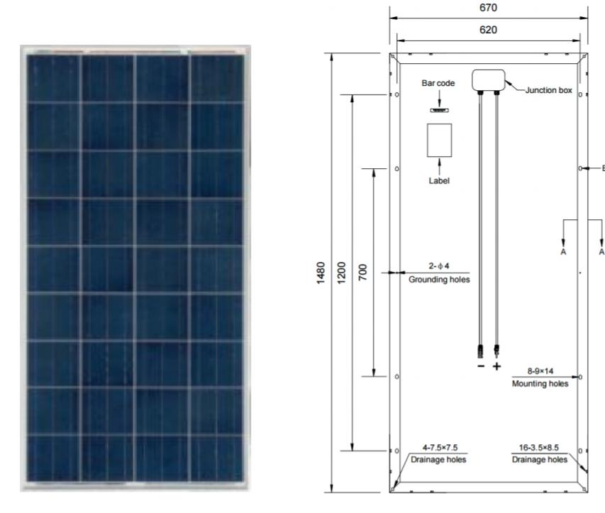 Placa Solar 150W Policristalina