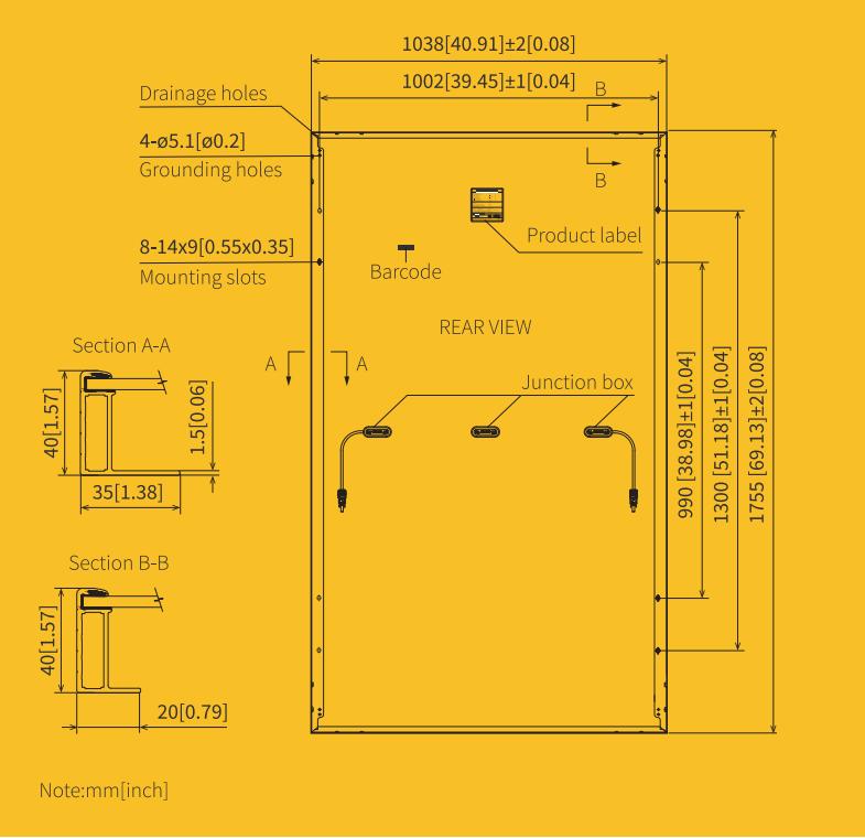 Placa Solar 370W Mono PERC medidas